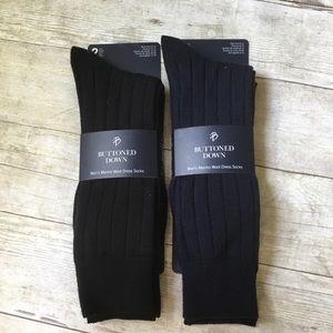 Men's Wool Dress Socks Ribbed Black Blue New